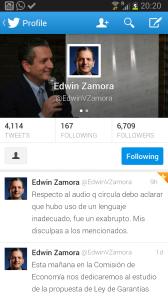 Tuit Diputado Zamora