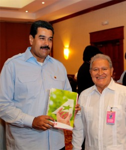Sánchez Cerén y Maduro. Fuente: www.fmln.org.sv